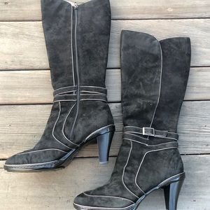 Black Suede heel boots by Sofft